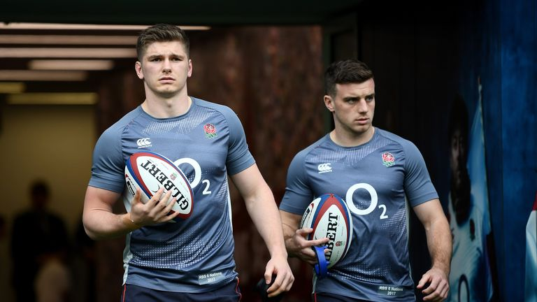 Captain Owen Farrell (left) starts at inside-centre, while George Ford (right) remains at 10