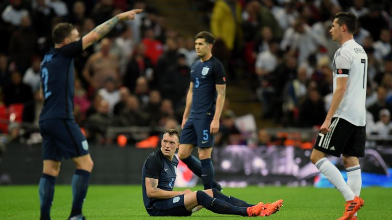 Phil Jones was substituted after 25 minutes due to an injury in England's 0-0 draw with Germany