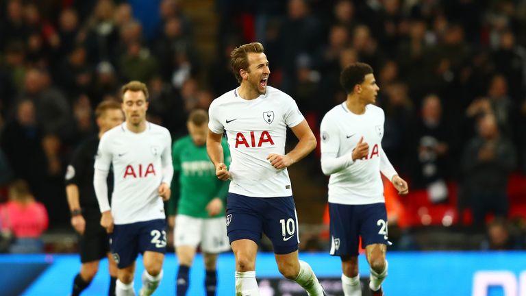 Kane celebrates his second-half equaliser against West Brom at Wembley