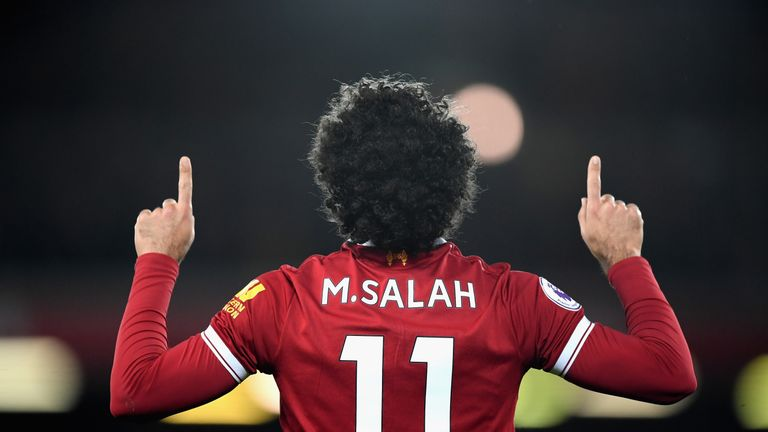 Mohamed Salah with a reserved celebration after giving Liverpool the lead