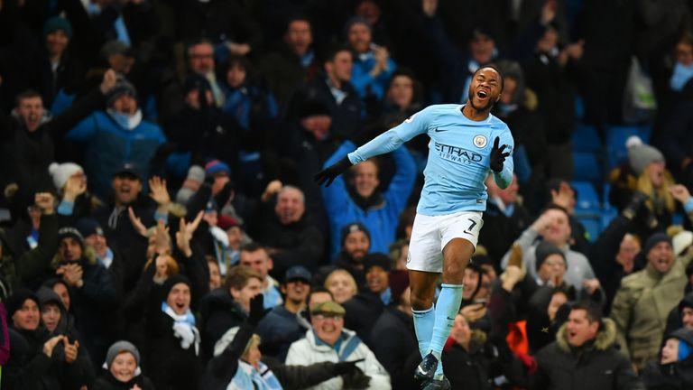 Raheem Sterling celebrates his injury time winner