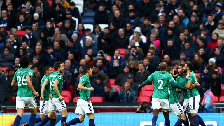 Salomon Rondon is congratulated by team-mates after putting West Brom ahead