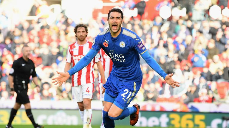 Vicente Iborra celebrates scoring the first goal of the game