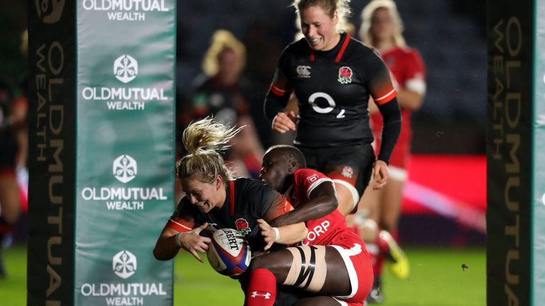 England's Rachael Burford scores their second try