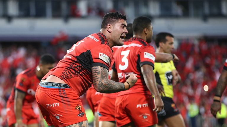 Andrew Fifita reacts after his late try attempt against England was disallowed