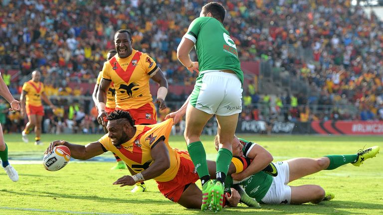 Garry Lo touching down for Papua New Guinea against Ireland