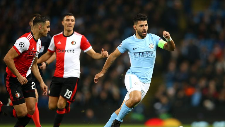 Sergio Aguero in action at The Etihad