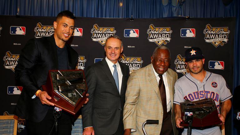 Miami Marlins' Giancarlo Stanton, left, at the MVP awards
