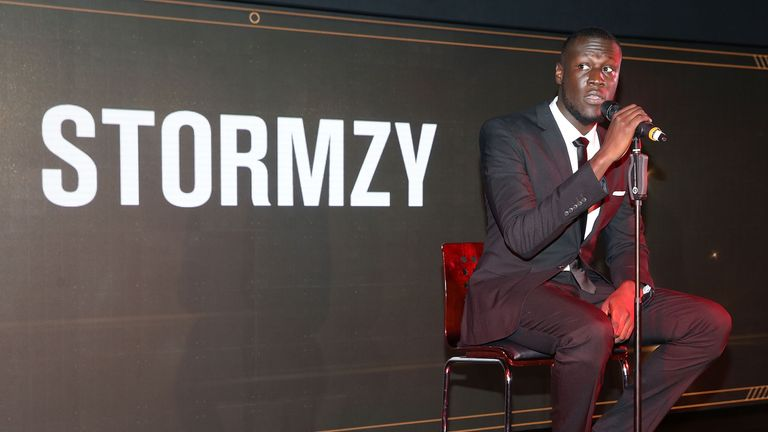 Stormzy, a Manchester United fan, performed at the event