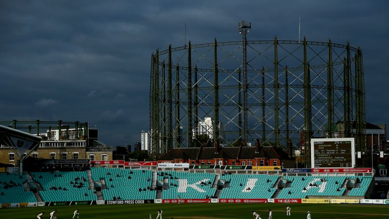 The famous view of the gas holders at the Oval