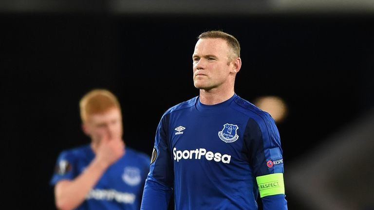 Everton's Wayne Rooney shows disappointment at the final whistle