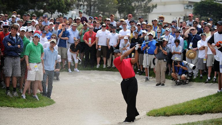 Woods en route to beating Rocco Mediate during the play-off at the 2008 US Open - his most recent major title