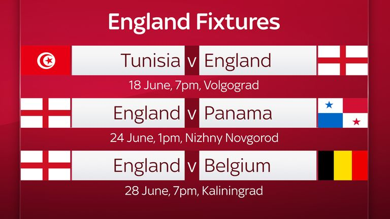 England's World Cup fixtures and dates