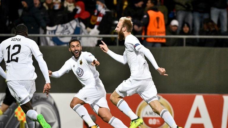 Englishman Curtis Edwards (right) celebrates scoring against Athletic Bilbao