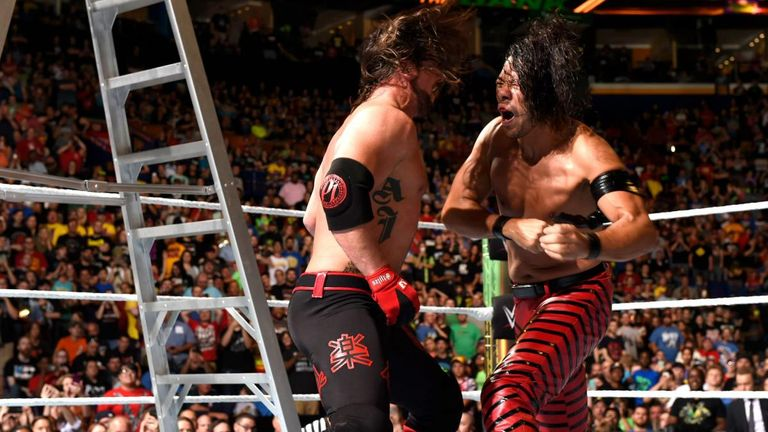 Styles and Nakamura clashes briefly during this year's Money In The Bank ladder match