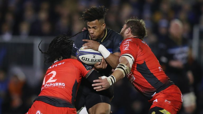 Anthony Watson of Bath takes on the Toulon defence