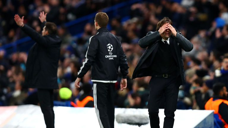 Antonio Conte reacts during the clash at Stamford Bridge