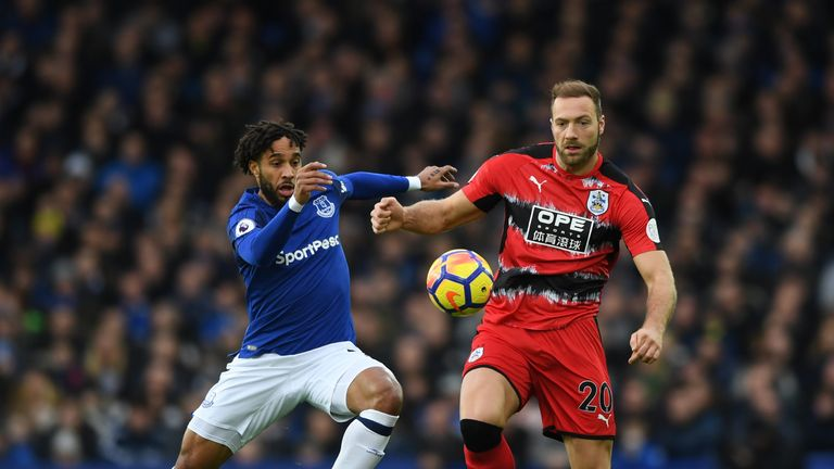 Laurent Depoitre had a physical battle all afternoon with Ashley Williams