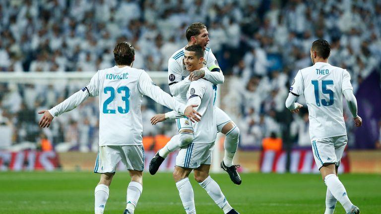 Cristiano Ronaldo celebrates putting Real Madrid  2-0 up against Borussia Dortmund