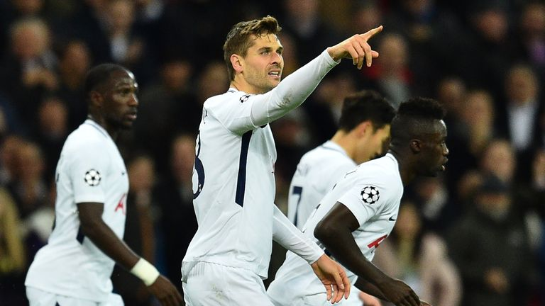 Fernando Llorente celebrates putting Spurs ahead against Apoel Nicosia