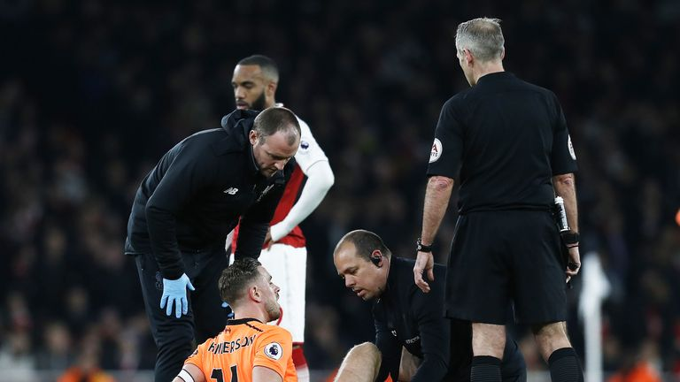 Henderson received extensive treatment during Liverpool's 3-3 draw with Arsenal