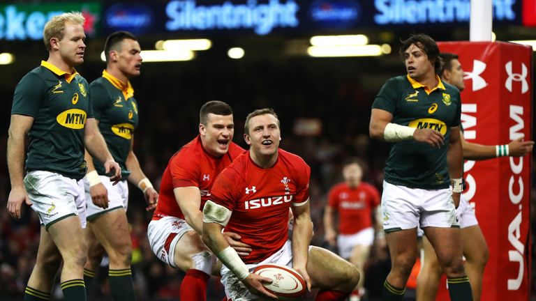 Hadleigh Parkes scores his first try for Wales on his debut