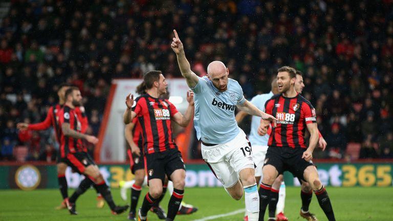 James Collins celebrates his opening goal