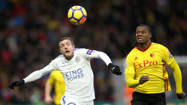 Jamie Vardy (left) and Watford's Christian Kabasele battle for the ball