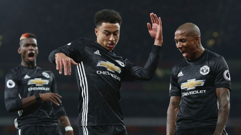 Jesse Lingard celebrates after scoring Manchester United's second goal