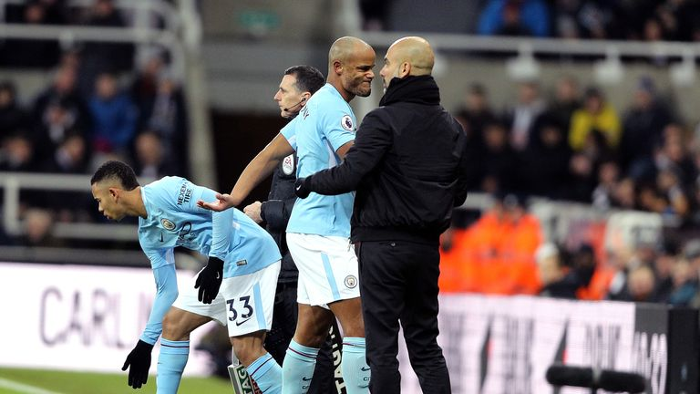 Vincent Kompany came off with an apparent injury after 11 minutes