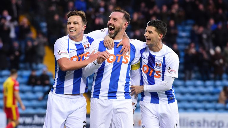 Kris Boyd (centre) and Eamon Brophy (right) have 22 goals for Kilmarnock in the Premiership between them so far this season.