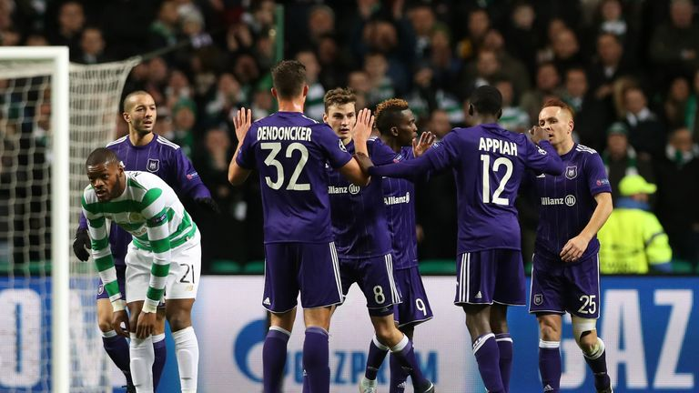 Leander Dendoncker and Pieter Gerkens celebrate Anderlecht's Celtic Park winner