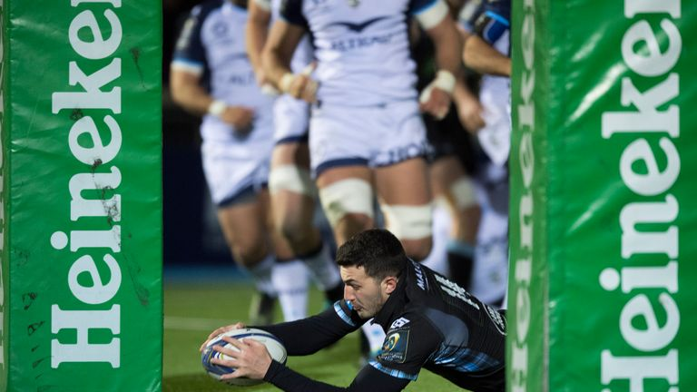 Leonardo Sarto goes over for Glasgow's first try of the evening