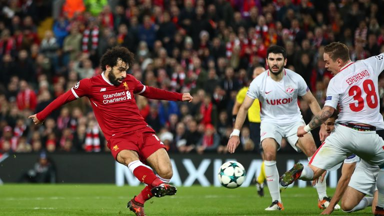 Mohamed Salah scores Liverpool's seventh at Anfield