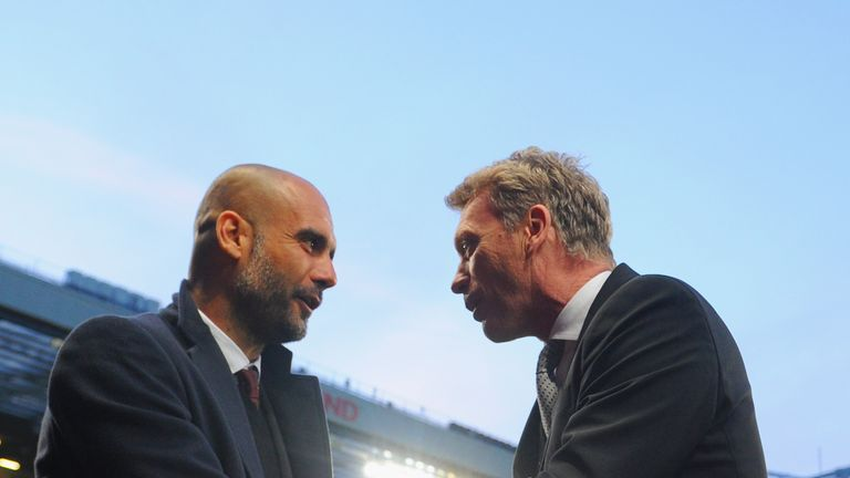Pep Guardiola and David Moyes will lock horns again on Sunday in Manchester