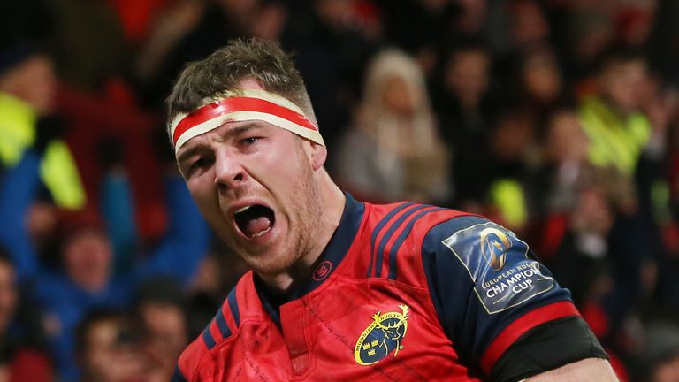 Munster's Peter O'Mahony was one of four try scorers in a superb individual performance