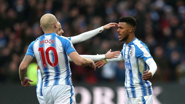 Elias Kachunga (right) has a knee injury and is out for Huddersfield