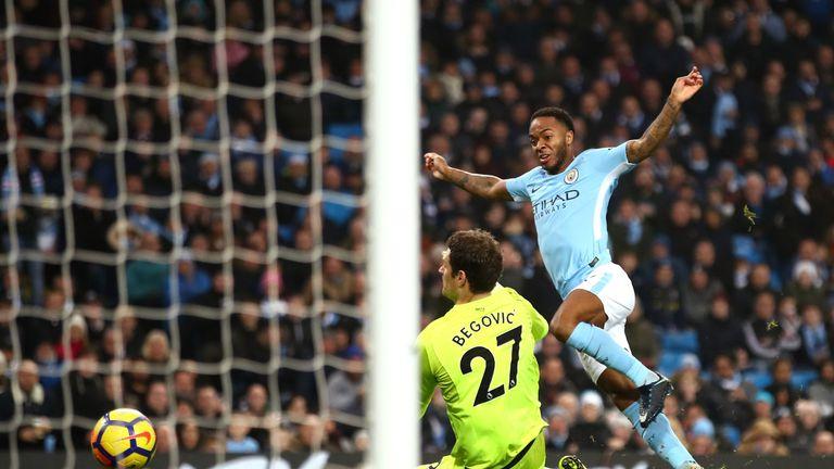 Raheem Sterling scores Manchester City's second goal