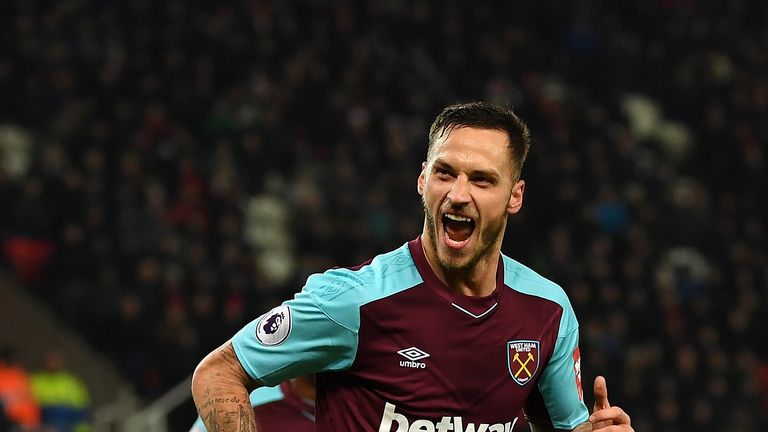 Marko Arnautovic celebrates after doubling West Ham's lead at former club Stoke