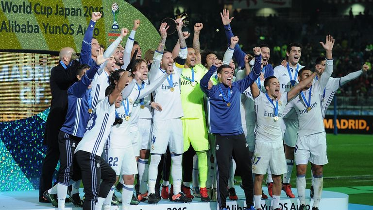 Real Madrid's players celebrating their FIFA Club World Cup last year