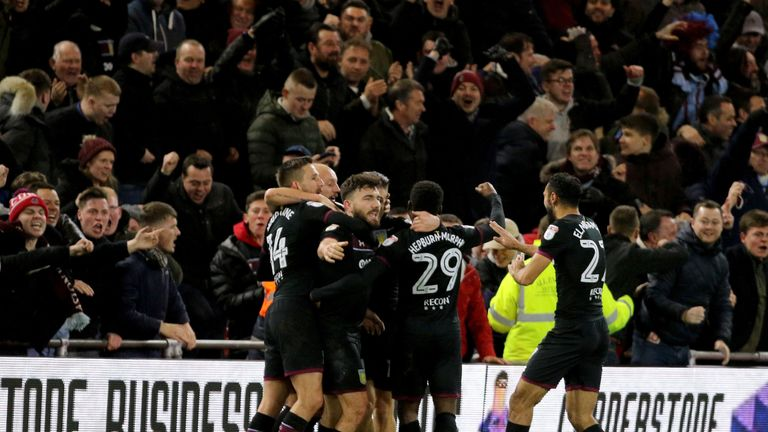 Robert Snodgrass celebrates giving Aston Villa their win at Middlesbrough
