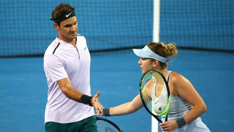Roger Federer and Belinda Bencic proved a winning combination in the mixed doubles