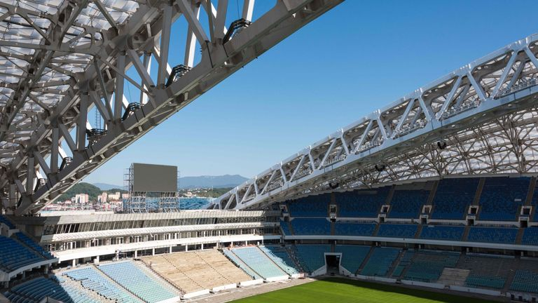 The Fisht Stadium in Sochi during construction works ahead of the World Cup