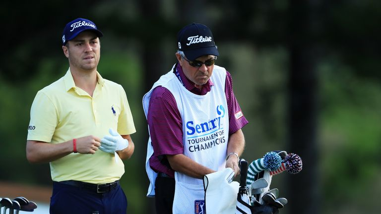 Justin Thomas was forced to turn to his father to caddie for him at Kapalua