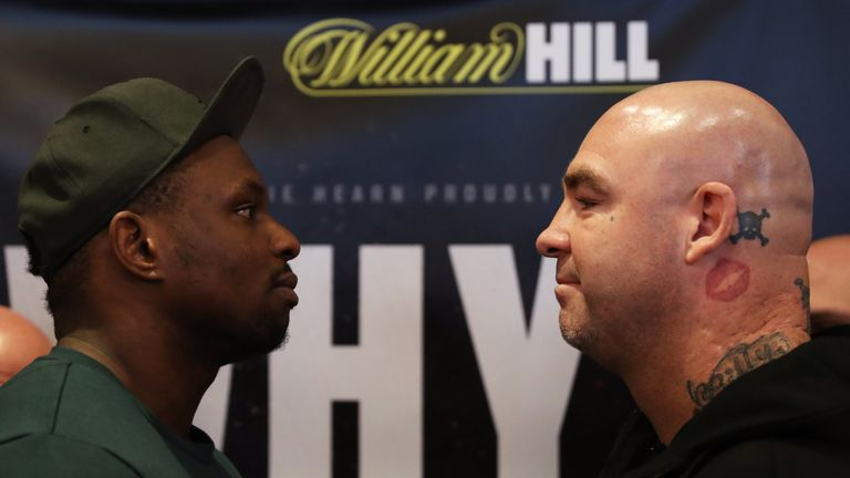 Dillian Whyte and Lucas Browne face-to-face during a press conference for their heavyweight fight