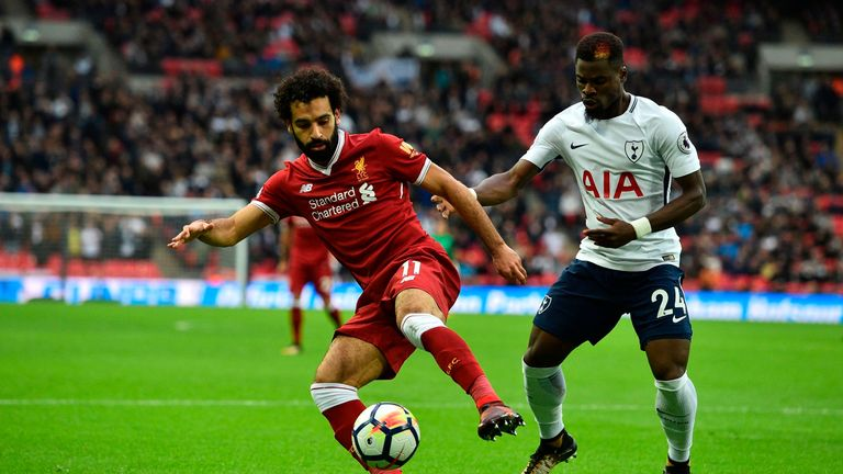 Salah was marked by right-footed left-back Serge Aurier in October