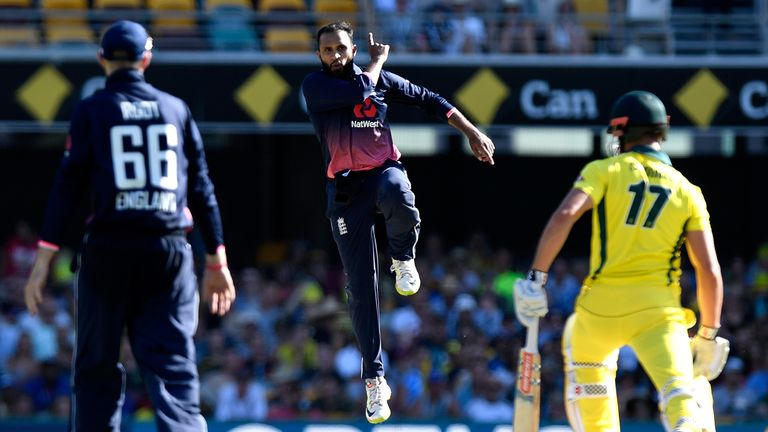Adil Rashid of England celebrates taking the wicket of Marcus Stoinis of Australia during game two of the ODI
