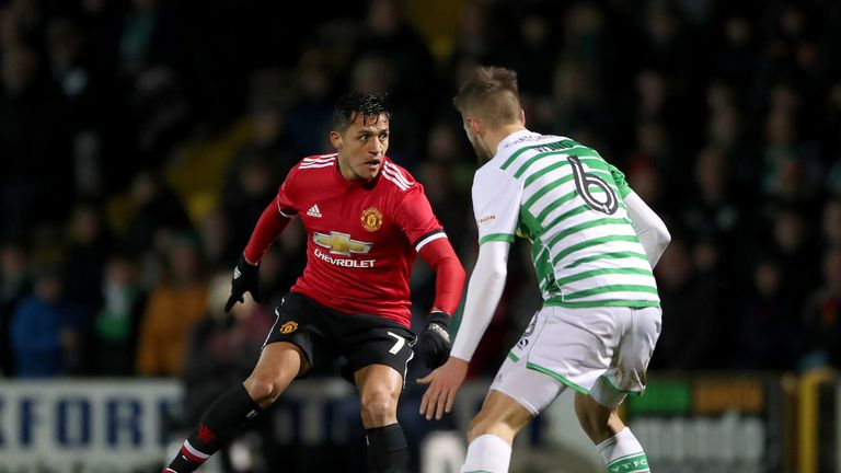 United's Alexis Sanchez (left) and Yeovil Town's Lewis Wing
