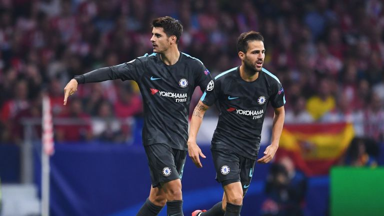 Chelsea will be without Alvaro Morata and Cesc Fabregas for Tuesday's second leg at Arsenal