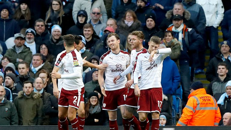 Ashley Barnes (centre) celebrates after putting Burnley ahead in the first half